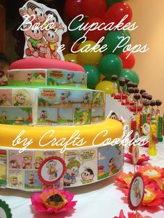Crafts Cookies: Foto de Clientes - Festa da Turma da Monica Camila, Birthday Parties, Party Ideas, Cookies, Cake, Crafts, Table Party, 5 Years, Shades