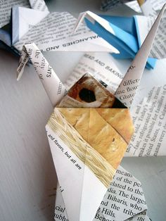 """Paper cranes: These 2.5"""" paper cranes are made from repurposed encyclopedia pages."""