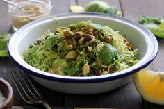 "Lemony Brussels Sprout Slaw w/ Dates, Pistachios & Mint — Bonnie delicious | ""Replace pistachios with cashews or almonds to avoid fungus."" -MB."