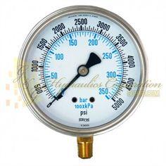 """Part #NV132A5N331KG Series 6211 Liquid Filled Pressure Gauge, 1/4"""" NPT Bottom Connection, 4"""" Gauge Size, 0-5000 PSI."""