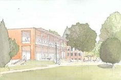 """Water color Illustration of how a new frontage design can promote outdoor life and social contact in an addition to the Campus Center at Andrews…"""