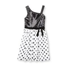 Holiday Editions Girl's Sequined One-Shoulder Party Dress - Polka Dots