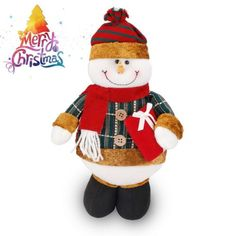 Tabletop Snowman Figure Plush Standing Toy Ornament Christmas Day Gift
