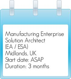 Manufacturing Enterprise #SolutionArchitect (EA / ESA) #5267101 Location: Midlands, #UnitedKingdom Start date: ASAP / Duration: 3 months initially
