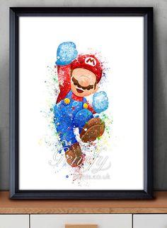 Mario Super Mario Brothers Watercolor Poster Watercolor