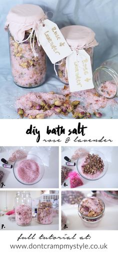 DIY gift, rose and lavender bath salts with own package and label - Don't Cramp My Style. Shared by Career Path Design. Homemade Gifts, Diy Gifts, Lavender Bath Salts, Lush Bath, Diy Beauté, Sugar Scrub Homemade, Rose Gift, Bath Soak, Bath Bombs