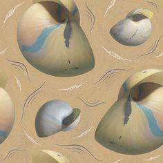 Large Shells, Sand and Waves - original pattern available at patternbank #pattern #shell #sand #wave #nautilus #ocean #sea