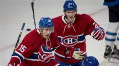 Montreal Canadiens' Tomas Fleischmann celebrates his first-period goal against the Winnipeg Jets Sunday, Nov. 2015 in Montreal. Montreal Canadiens, First Period, World Of Sports, Chicago, Hockey Players, Sports News, Jet, Sunday Night