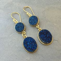 Sapphire Blue Druzy Earrings, Dark Blue Druzy Earrings with Gold Plated setting and ear wires. 2 inches long
