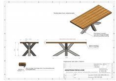 Stoere robuuste industriële tafel voorzien van matrix tafelpoot /3d kruispoot en eiken tafelblad, geheel met de handgemaakt.
