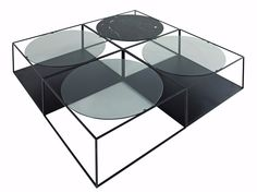 Square metal coffee table with integrated magazine rack for living room G3 - ROCHE BOBOIS