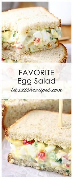 Favorite Egg Salad Recipe: Hard boiled eggs, celery, red pepper and green onion come together in my Favorite Egg Salad. Great for sandwiches or enjoying straight from the bowl. #eggs