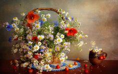 Bukiet, Kwiatów, Koszyk, Dzbanek