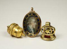 Antique English Georgian Miniature Portrait Locket  Circa 1770, fob seal, & vinaigrette