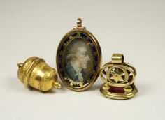 Antique English Georgian Miniature Portrait Locket  Circa 1770, fob seal, & vinaigrette