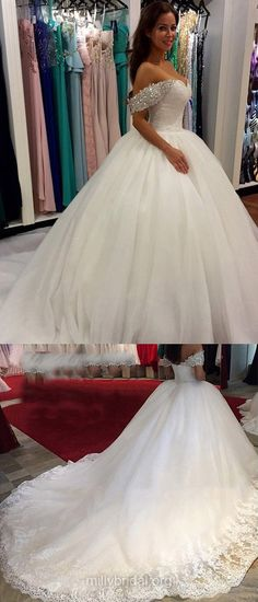 Ball Gown Wedding Dresses Off-the-shoulder, Cheap Wedding Dresses 2018, Tulle Wedding Dresses Cathedral Train Beading Glamorous