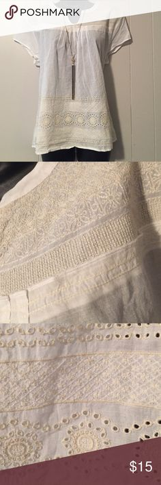 NWT Lucky Brand Boho Peasant Embroidered Top New with tags. White with cream embroidery. Pleated front. Peasant style. Lucky Brand Tops Blouses