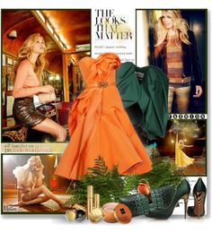 """""""Orange with Green"""" by thewondersoffashion ❤ liked on Polyvore"""