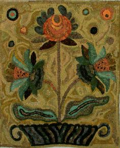 Hooked by Patty Hoffmeyer.  Pattern by Janice Johnson, Wooley Woolens.  Fraktur Floral II.