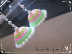 handmade paper quilling neon jhumka by chocolates and creativity corner