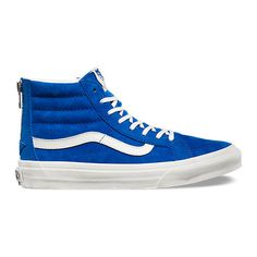 SK8-Hi Slim Zip ($80) ❤ liked on Polyvore featuring women's fashion, shoes, sneakers, vans, blue, zipper shoes, zip shoes, vans sneakers, blue shoes and blue sneakers