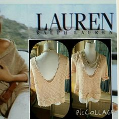 Ralph Lauren Polo jeans crop crochet top XL I'm just a drop too old for this one. So cute! It is a cross between peach and pink. 19 inches shoulder to shoulder, 21 inches underarm to underarm. 21 in long. Reasonable offers are welcome. Polo by Ralph Lauren Tops Crop Tops