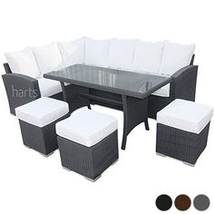 Roe Gardens - Premium Rattan Sofa with Dining Table