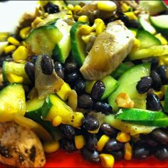 Black bean, sweet corn, and grilled chicken salad with a lemon cilantro dressing. via instagram @robolikes