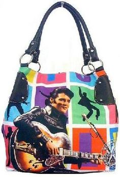 Colorful ROCK-N-ROLL ELVIS GUITAR Bag Purse
