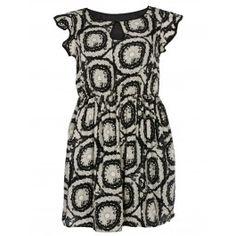 Black/Nude Frill Sleeve Paisley Print Dress | Curvy Plus Size Dresses | Desire