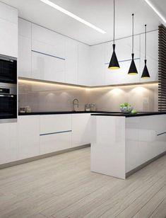 Amazing Ideas For Luxury White Kitchen Design Decor Ideas — Home Design Ideas Kitchen Room Design, Modern Kitchen Design, Kitchen Layout, Interior Design Kitchen, Kitchen Decor, Kitchen Ideas, Modern Design, Kitchen Contemporary, Decorating Kitchen