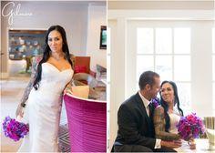 Newport Beach Wedding | white wedding dress, sweetheart neckline, bride with tattoos, orchid bouquet, black suit, purple couch, purple flowers, kiss, love, happy couple, Hyatt Regency, Newport Beach, Orange County, California, wedding photographer | Gilmore Studios