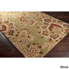 Hand-Tufted Wool Transitional Paisley Area Rug-(8' x 11') (Moss-(8' x 11')), Green, Size 8' x 11' (New Zealand Wool, Floral)