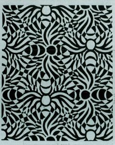 Design for bank-note background June 1951 Rendered in India ink, with motif called a bee by Escher (unexecuted)