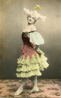 Vintage French hand tinted photo postcard