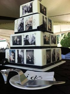 A Wedding Cake Featuring Photos On Each Layer - Great use of engagement photos!.    Inweddingdress.com     #weddingcake #weddingidea