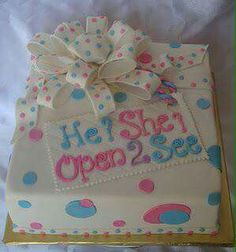 Baby shower gender reveal cake Gender Party, Baby Gender Reveal Party, Baby Reveal Cakes, Gender Reveal Cakes, Gender Reveal Box, Cupcake Cakes, Cupcakes, Reveal Parties, Baby Shower Cakes