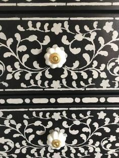 A DIY stenciled dresser given a bone inlay look using the Indian Inlay Stencil Kit designed by Kim Myles from Cutting Edge Stencils. Vintage Bedroom Furniture, Paint Furniture, Home Decor Furniture, Furniture Projects, Furniture Makeover, Kitchen Furniture, Furniture Layout, Furniture Cleaning, Furniture Websites