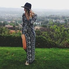 Leather Banded Floppy Hat and Siren Print Maxi Dress styled by sloppyelegance on FP Me