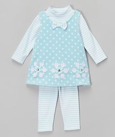 Look what I found on #zulily! Aqua Snowflake Fleece Jumper Set - Infant, Toddler & Girls #zulilyfinds