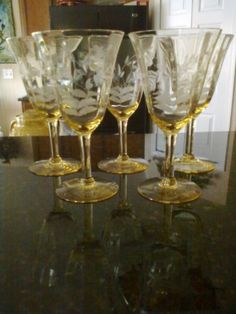 yellow etched wine glasses