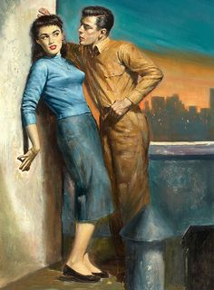 """Rudy Nappi This painting was on the cover of the paperback """"The Future Mister Dolan"""" by Charles Gorham in Pulp Fiction Art, Pulp Art, Up Book, Book Art, Charles Edward, Pin Up, Painting Of Girl, Couple, Up Girl"""