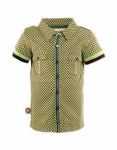 Bruin hemdje met groen-gele print 'Koop island blues' - 4 funky flavours