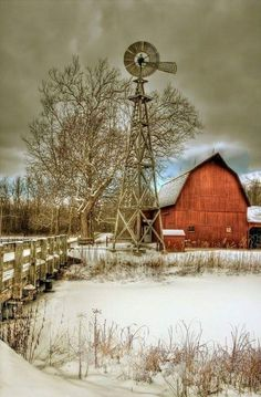 Barn, windmill and snow