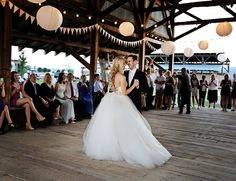 first wedding dance - love the lanterns hanging in the barn!