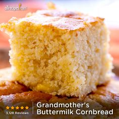 """""""Really good and easy. Tip: if you don't have buttermilk, replace two tablespoons of milk with lemon juice."""" —Karen   Repin Grandmother's Buttermilk Cornbread. http://allrecipes.com/video/697/grandmothers-buttermilk-cornbread/detail.aspx?lnkid=7171"""