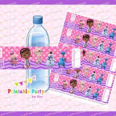 INSTANTÁNEA descargar Doc Mcstuffins botella de agua etiquetas envolturas envolturas de fiesta a chica de doctor DIGITAL archivo imprimible dr piy