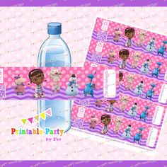 Doc+Mcstuffins+water+bottle+labels+wraps+by+PrintablePartybyFer,+$2.99