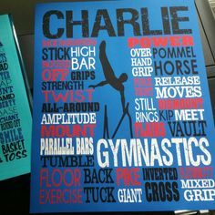 Men's gymnastics art in blue, red, black and white. Customize to any name and colors by twenty3stars.com