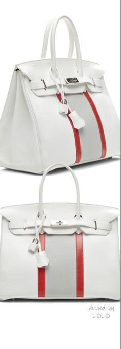 Hermes White Clemence Club Birkin - I would never dislike any Hermes bag, but as an Everton fan does it come with a royal blue stripe? Hermes Bags, Mk Bags, Hermes Birkin, Beautiful Handbags, Beautiful Bags, Hermes Handbags, Purses And Handbags, Handbags Online, How To Have Style